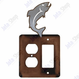 Trout Fish Double Metal Outlet Cover with Single Rocker