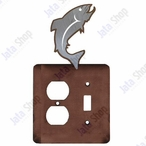 Trout Fish Double Metal Outlet Cover with Single Toggle