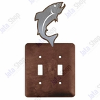 Trout Fish Double Toggle Metal Switch Plate Cover
