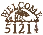 Trout Fish Metal Address Welcome Sign