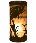 Trout Fish Metal Cylinder Pillar Table Lamp