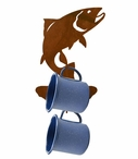 Trout Fish Metal Mug Holder Wall Rack