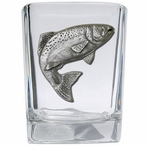 Trout Fish Pewter Accent Shot Glasses, Set of 4