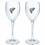Trout Fish Pewter Accent Wine Glass Goblets, Set of 2