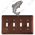 Trout Fish Quad Toggle Metal Switch Plate Cover