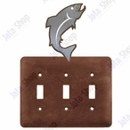 Trout Fish Triple Toggle Metal Switch Plate Cover