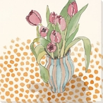 Tulip Flowers and Dots Wrapped Canvas Giclee Print Wall Art