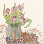 Tulip Flowers and Paisley Shadow Wrapped Canvas Giclee Print