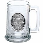Turkey Bird Oval Glass Beer Mug with Pewter Accent