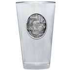 Turkey Bird Oval Pint Beer Glasses with Pewter Accent, Set of 2