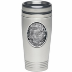 Turkey Bird Oval Stainless Steel Travel Mug with Pewter Accent