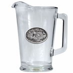 Turkey Birds Glass Pitcher with Pewter Accent
