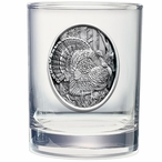 Turkey Pewter Accent Double Old Fashion Glasses, Set of 2