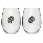 Turkey Pewter Accent Stemless Wine Glass Goblets, Set of 2