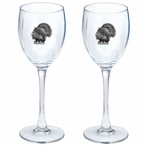 Turkey Pewter Accent Wine Glass Goblets, Set of 2