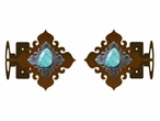 Turquoise Stone Metal Curtain Rod Holders