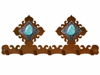 Turquoise Stone Metal Wall Key Rack