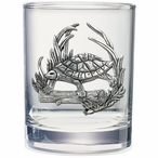 Turtle Pewter Accent Double Old Fashion Glasses, Set of 2