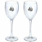 Turtle Pewter Accent Wine Glass Goblets, Set of 2