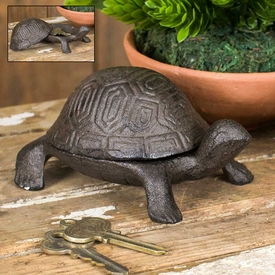 Turtle Trinket Box Cast Iron Garden Statues, Set Of 2