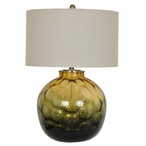 Tuscany Glass Table Lamp with Tan Linen Shade
