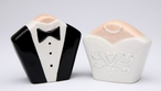 Tuxedo and Gown Ceramic Salt and Pepper Shakers, Set of 4
