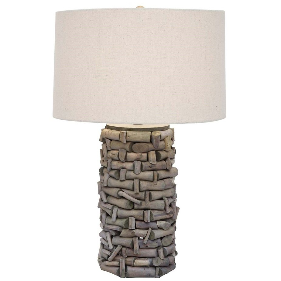 Twig Branch Wood Table Lamp With Linen Shade