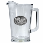Two Black Bears Glass Pitcher with Pewter Accent