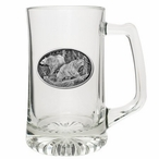 Two Black Bears Glass Super Beer Mug with Pewter Accent