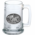 Two Black Bears lass Beer Mug with Pewter Accent