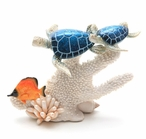 Two Blue Turtles Swimming in Coral Statue