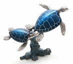 Two Blue Turtles Swimming Statue
