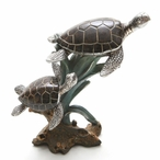 Two Brown Turtles Swimming Statue
