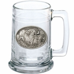 Two Cape Buffalo Glass Beer Mug with Pewter Accent