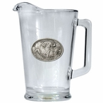 Two Cape Buffalo Glass Pitcher with Pewter Accent