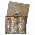 Two Cape Buffalo Pilsner Glasses & Beer Mugs Box Set w/ Pewter Accents