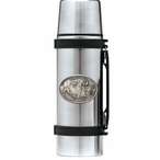 Two Cape Buffalo Stainless Steel Thermos with Pewter Accent