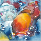 Two Colorful Koi Fish Wrapped Canvas Giclee Print Wall Art