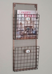 Two Compartment Hanging Wire Wall Magazine Holder