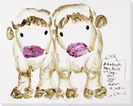 Two Cows Wrapped Canvas Giclee Print Wall Art