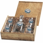 Two Dolphins Blue Capitol Decanter & DOF Glasses Box Set with Pewter