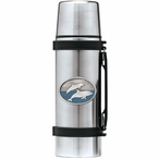 Two Dolphins Blue Stainless Steel Thermos with Pewter Accent