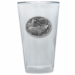 Two Elk Pint Beer Glasses with Pewter Accent, Set of 2
