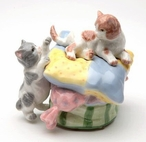 Two Kittens at Play Musical Music Box Sculpture