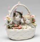 Two Kittens in a Basket Musical Music Box Sculpture