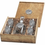 Two Rhinoceros Capitol Decanter & DOF Glasses Box Set with Pewter