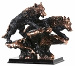 Two Running Wolves Statue - Copper Finish