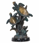Two Turtles Statue - Ancient Bronze Mixed with Verdigris Finish