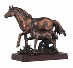 Two Walking Horses Statue - Antique Copper Finish