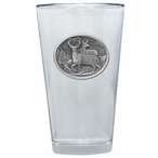 Two Whitetail Deer Pint Beer Glasses with Pewter Accent, Set of 2
